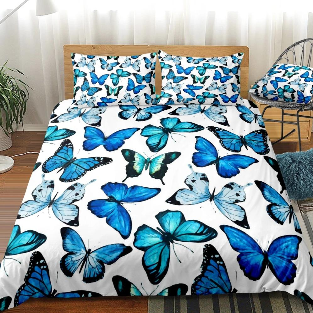 2/3-Piece Flying Blue Butterfly Pattern Duvet Cover Set