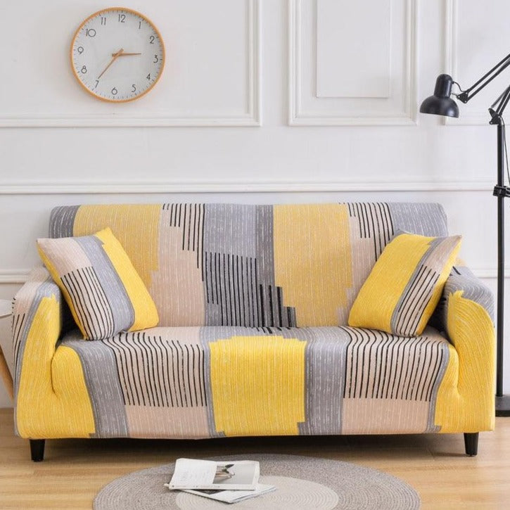 Yellow / Gray Abstract Stripe Pattern Sofa Couch Cover