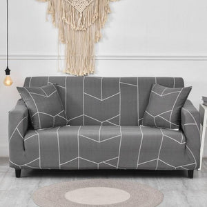 Gray Geometric Striped Tile Pattern Sofa Couch Cover
