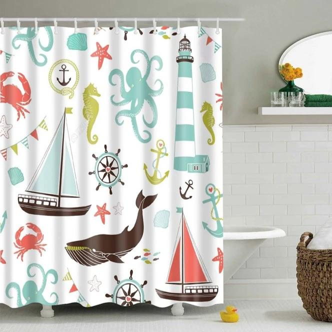 Kids Colorful Nautical Print Bathroom Shower Curtain