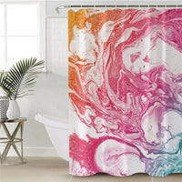 Colorful Marble Stone Swirl Print Bathroom Shower Curtain