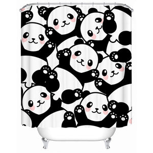 Black & White Cartoon Panda Pattern Bathroom Shower Curtain