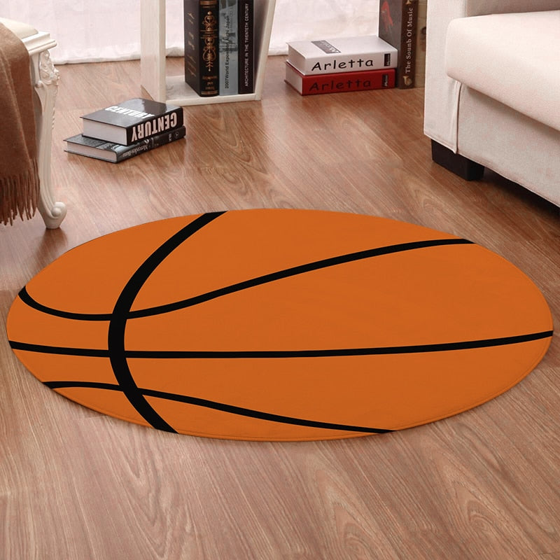 Round Orange Basketball Floor Mat Rug