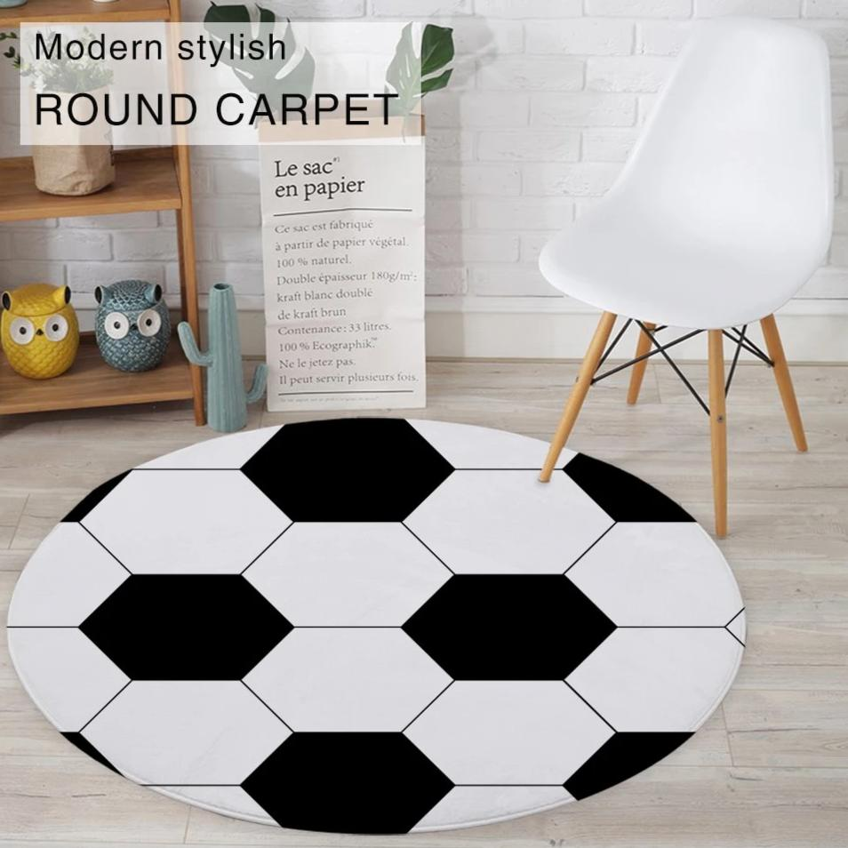 Round Black & White Soccer Ball Floor Mat Rug