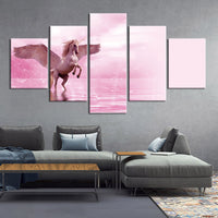 5-Piece Pink Winged Unicorn Pegasus Canvas Wall Art