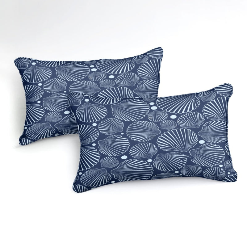 Blue 2/3-Piece Nautical Sea Shell Pattern Duvet Cover Set