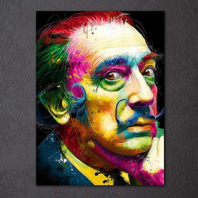 Colorful Abstract Salvador Dali Portrait Canvas Wall Art