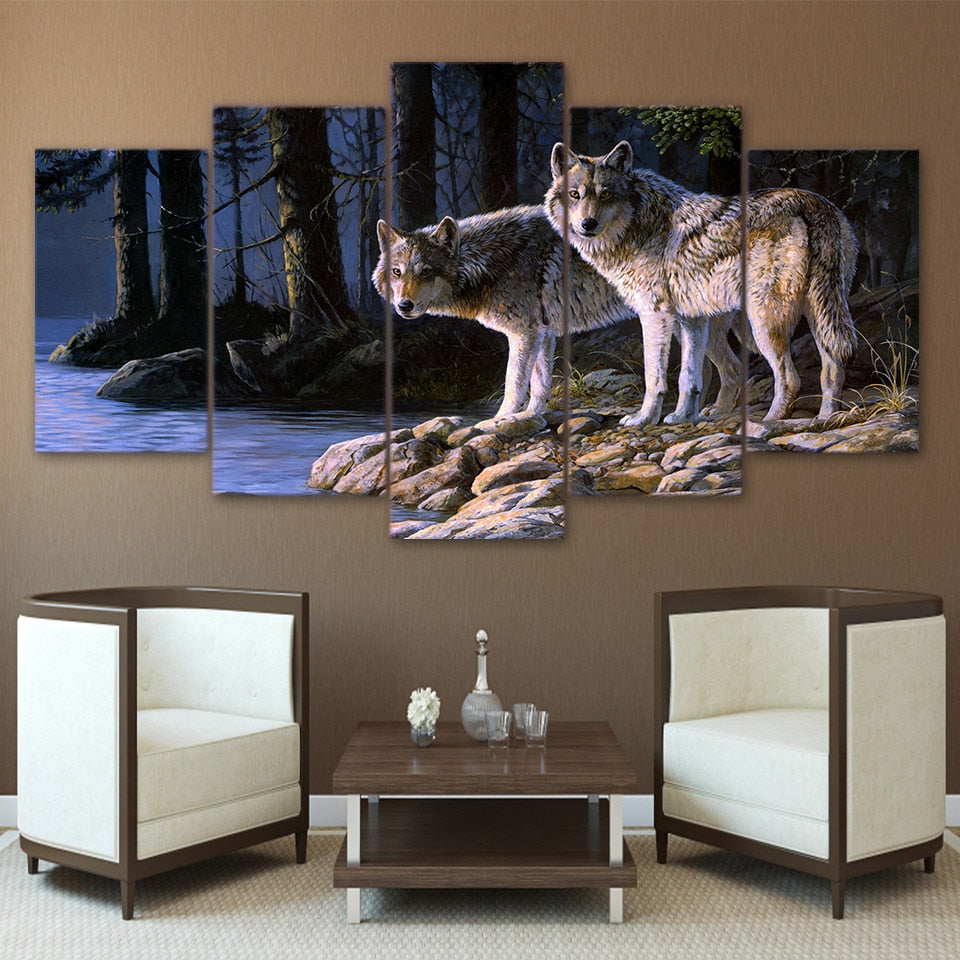 5-Piece Night Forest River Wolves Canvas Wall Art