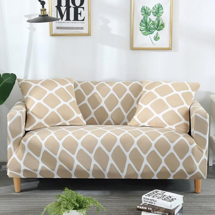 Beige Geometric Honeycomb Pattern Sofa Couch Cover