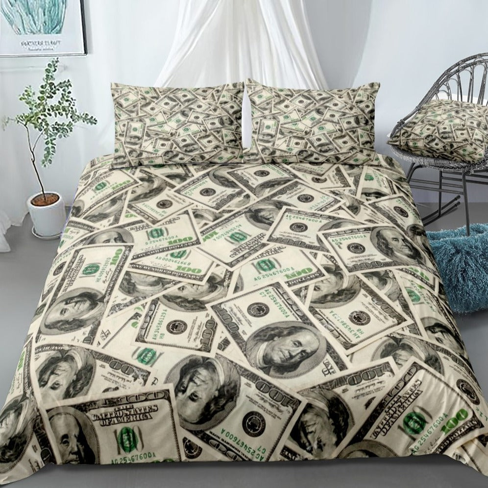 2/3-Piece Hundred Dollar Bill Money Print Duvet Cover Set