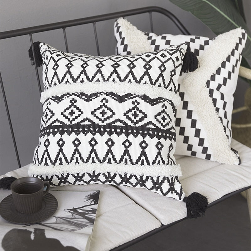 Black & White Geometric Boho Throw Pillow Cover w/ Tassels