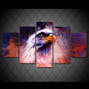 5-Piece Abstract American Bald Eagle Canvas Wall Art