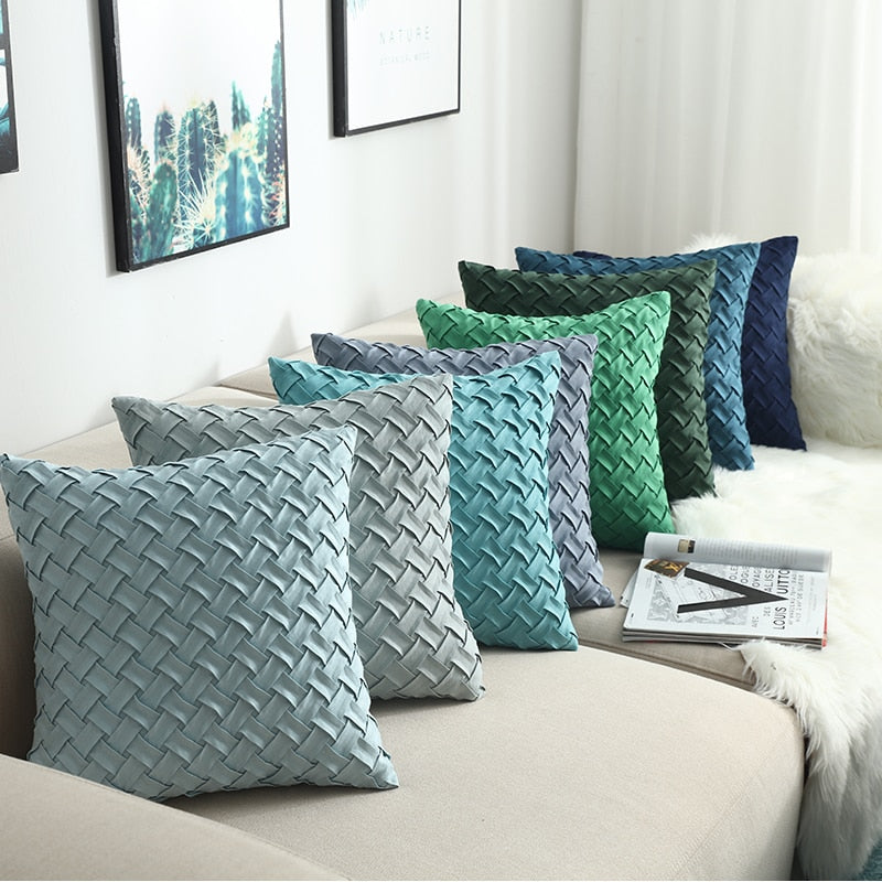 Blue / Green / Gray Weaved Faux Suede Throw Pillow Cover