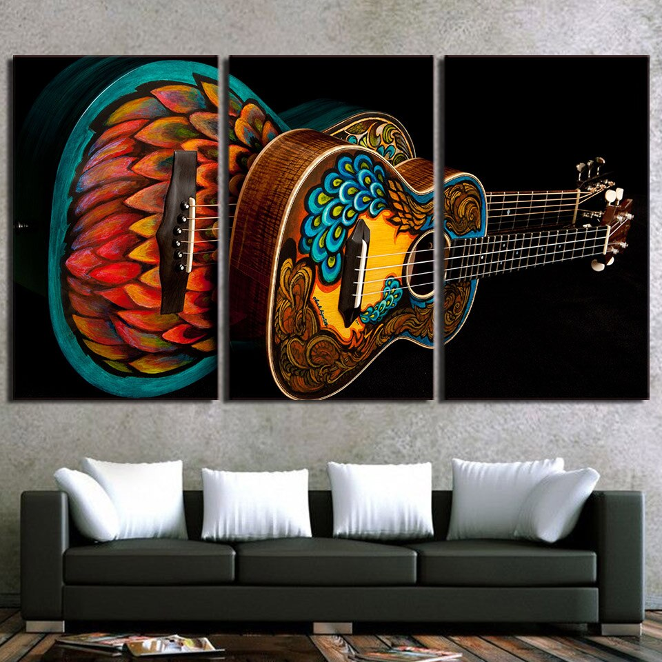 3-Piece Colorful Painted Acoustic Guitars Canvas Wall Art