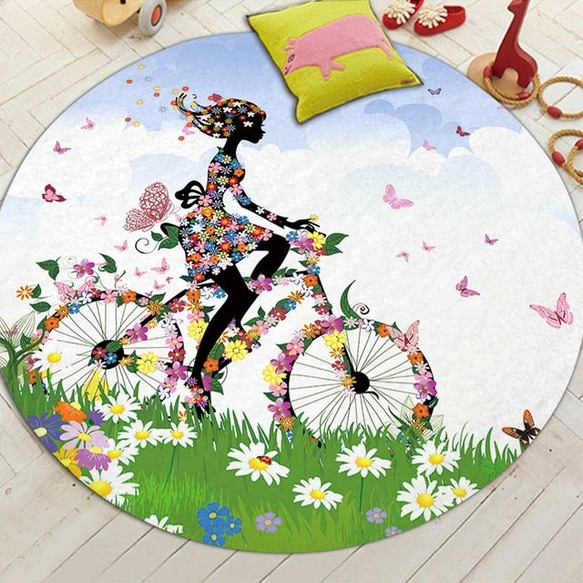 Round Butterfly Fairy Print Floor Mat Rug
