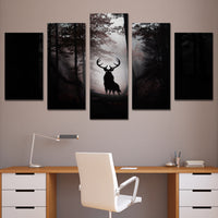 5-Piece Black Forest Deer Elk Silhouette Canvas Wall Art