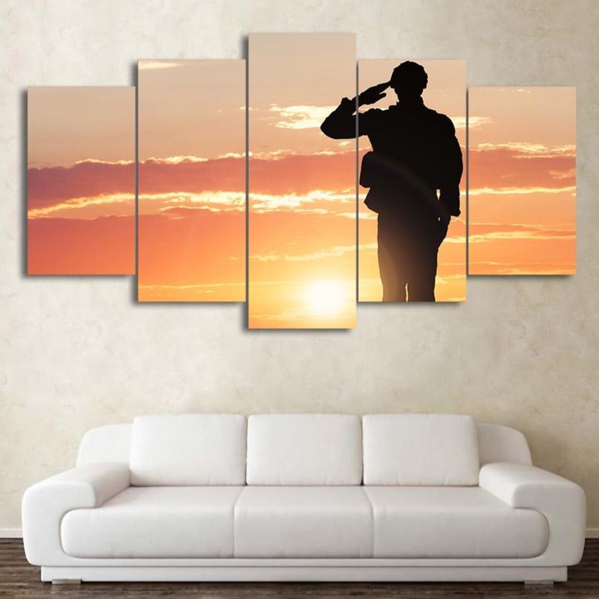 5-Piece Fallen Soldier Military Salute Canvas Wall Art