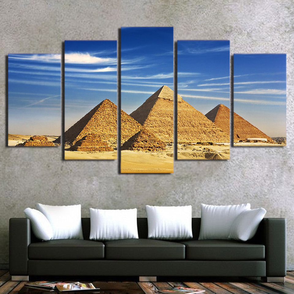 5-Piece Blue Sky Egyptian Pyramids Canvas Wall Art