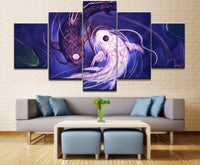 5-Piece Abstract Purple Koi Fish Yin-Yang Canvas Wall Art