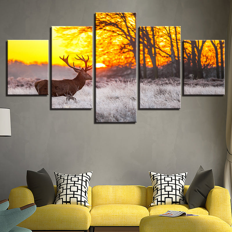 5-Piece Orange Deer Hunting Sunset Canvas Wall Art