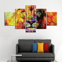 5-Piece Abstract Lion In The Sunshine Canvas Wall Art
