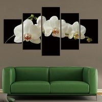 5-Piece White Orchid Blossoms Canvas Flower Wall Art