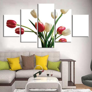 5-Piece Red & White Tulips Canvas Flower Wall Art