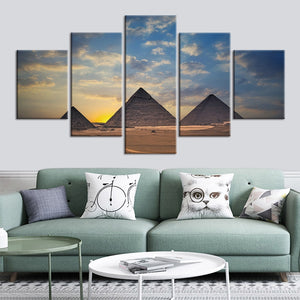5-Piece Egyptian Pyramids Sunset Canvas Wall Art