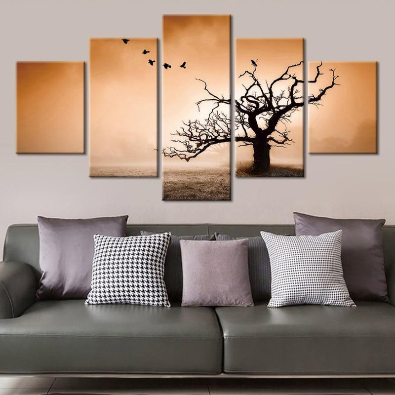 5-Piece Dusty Dead Tree Wasteland Canvas Wall Art