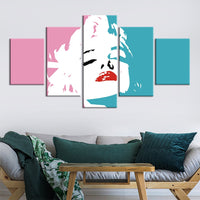 5-Piece Abstract Pink / Teal Madonna Canvas Wall Art