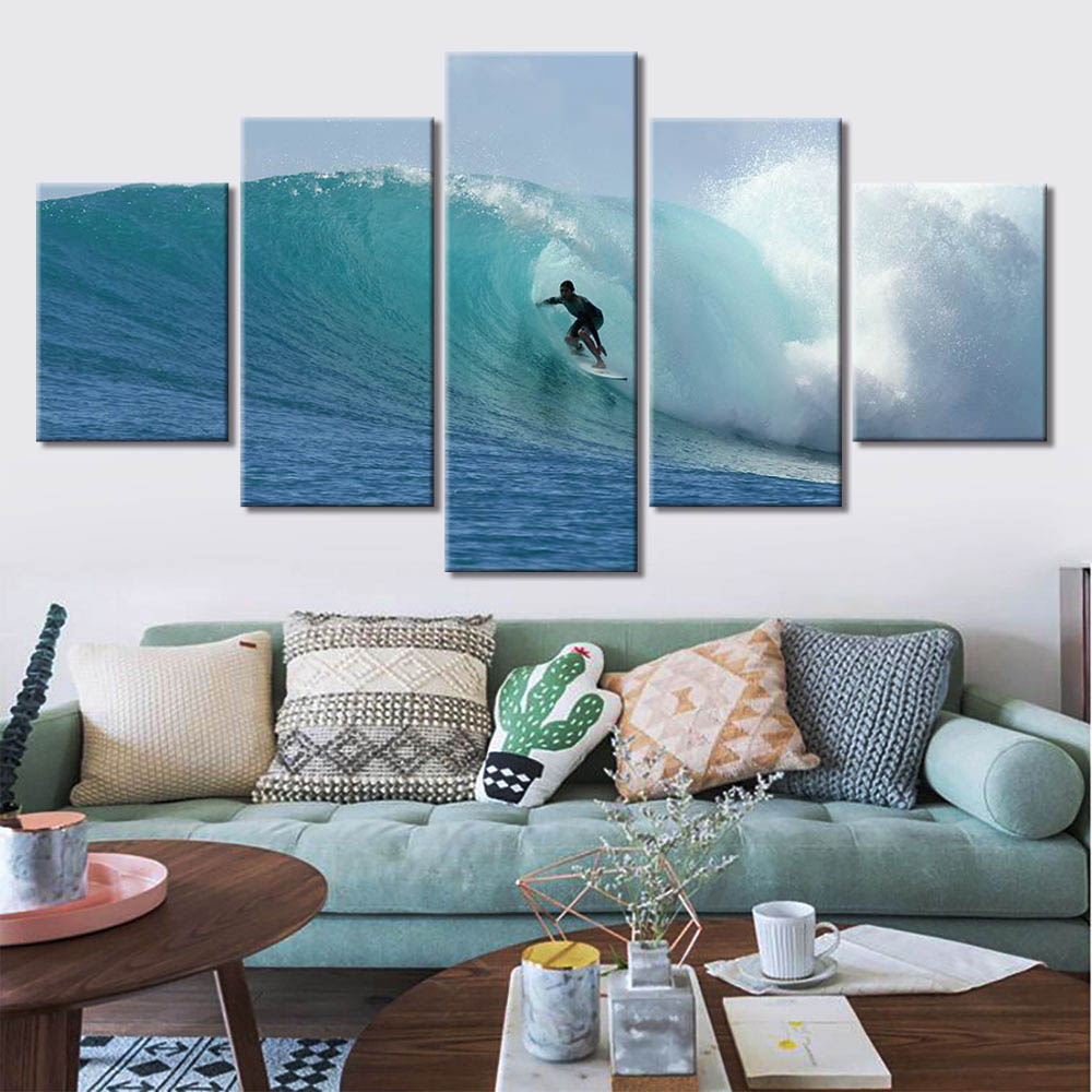 5-Piece Blue Ocean Big Wave Surfer Canvas Wall Art
