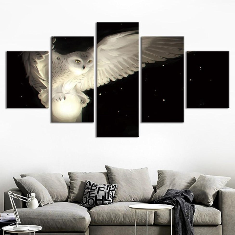 5-Piece Mystical White Night Owl Canvas Wall Art