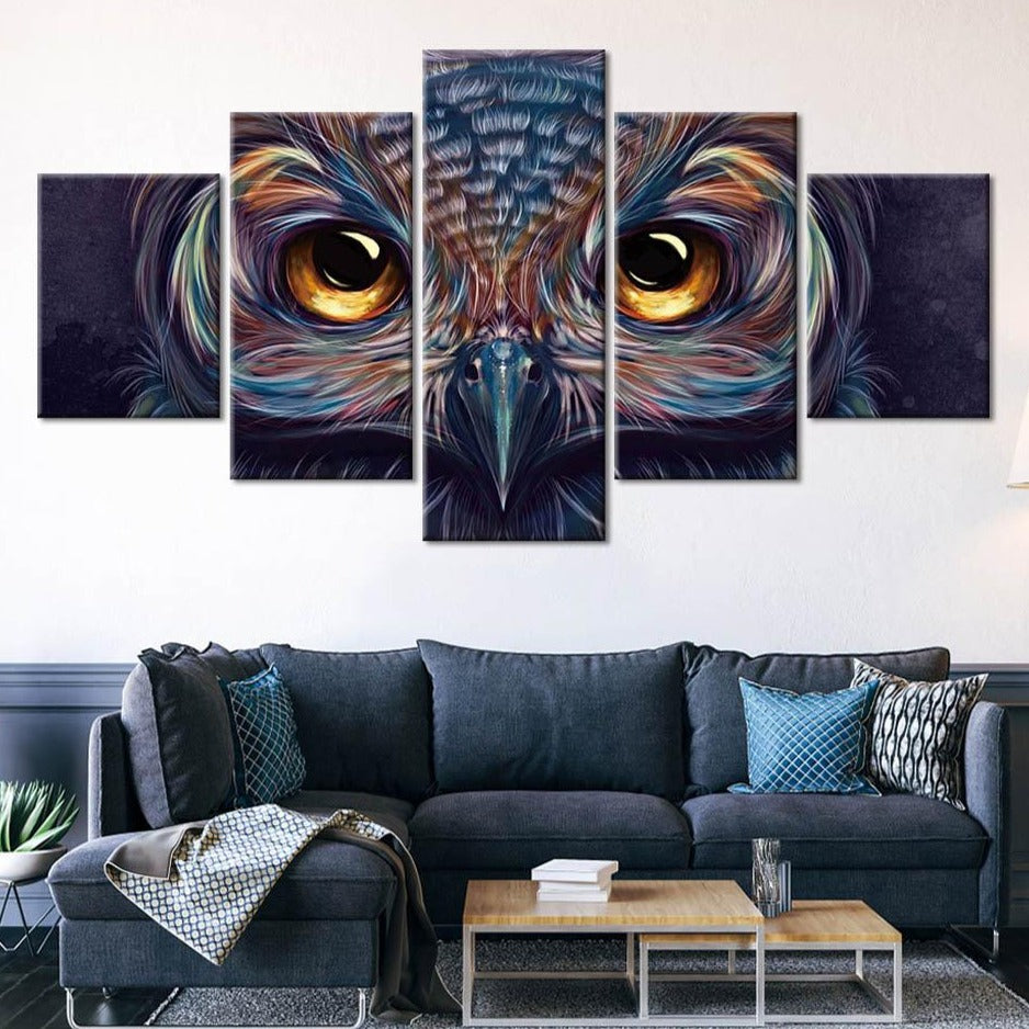 5-Piece Colorful Abstract Owl Eyes Canvas Wall Art