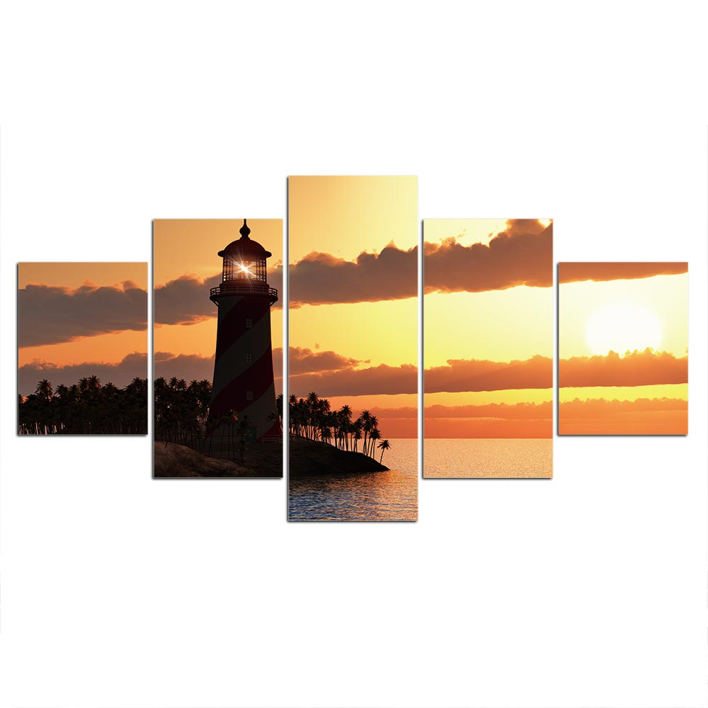 5-Piece Tropical Lighthouse Sunset Canvas Wall Art