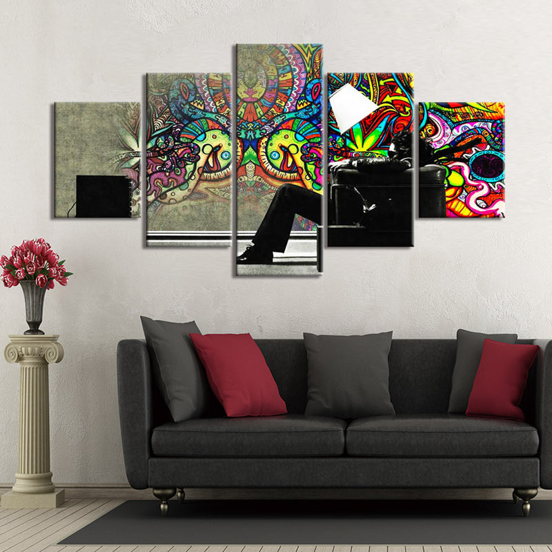 5-Piece Psychedelic Apartment Wall Graffiti Canvas Wall Art