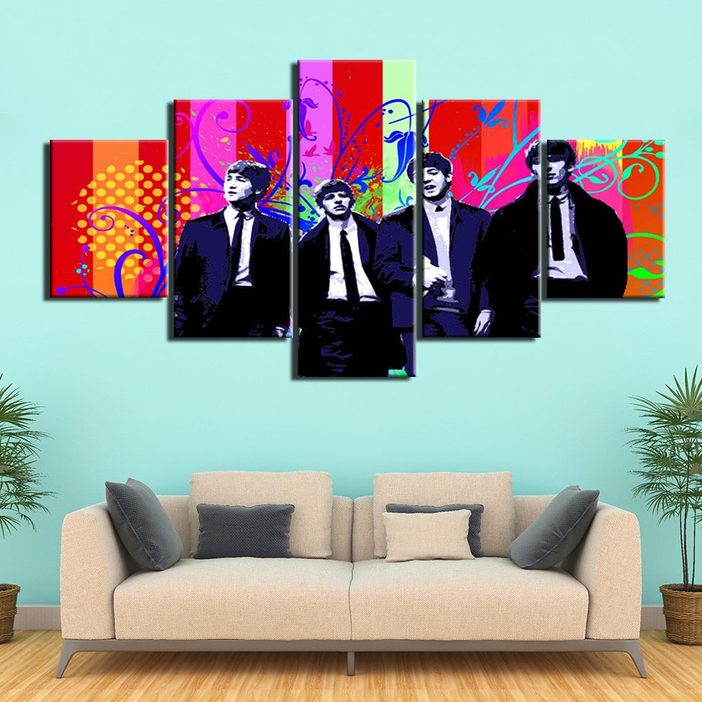 5-Piece Colorful Abstract Beatles Music Canvas Wall Art