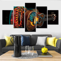 5-Piece Colorful Painted Acoustic Guitars Canvas Wall Art