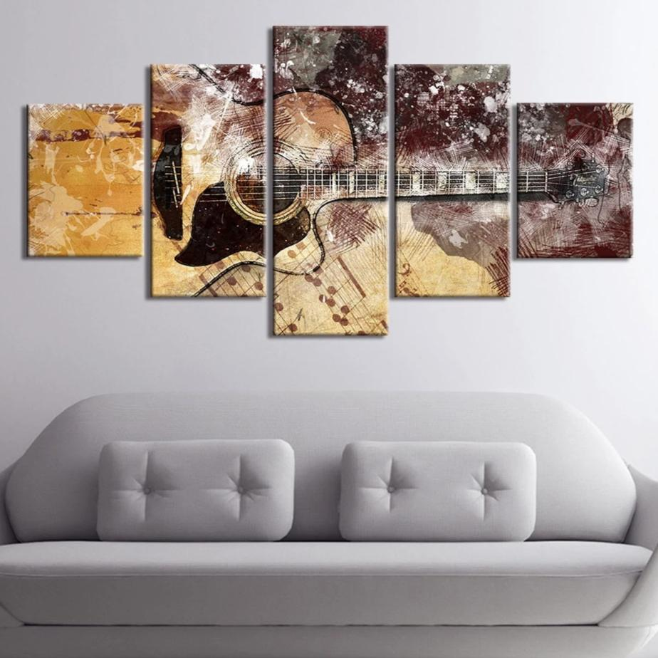5-Piece Abstract Musical Acoustic Guitar Canvas Wall Art