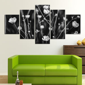 5-Piece Black & White Wild Flowers Canvas Wall Art