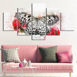 5-Piece Black, White & Red Floral Butterfly Canvas Wall Art