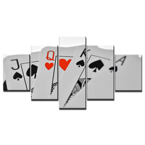 5-Piece White Poker Playing Cards Canvas Wall Art