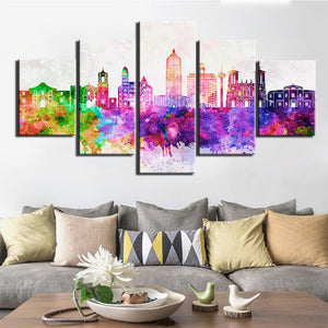 5-Piece Colorful Watercolor City Skyline Canvas Wall Art