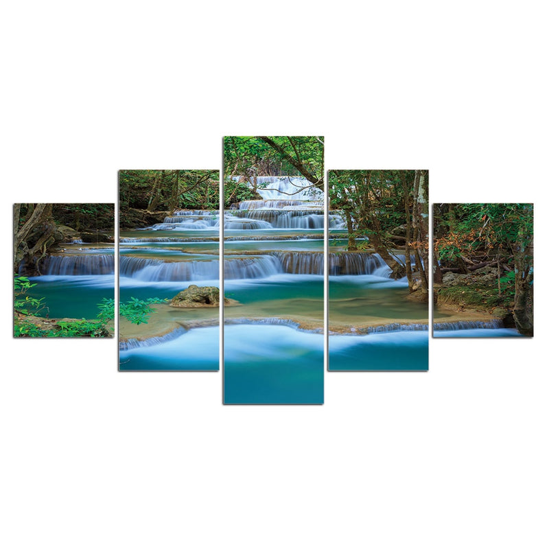 5-Piece Stepped Forest Waterfall Canvas Wall Art