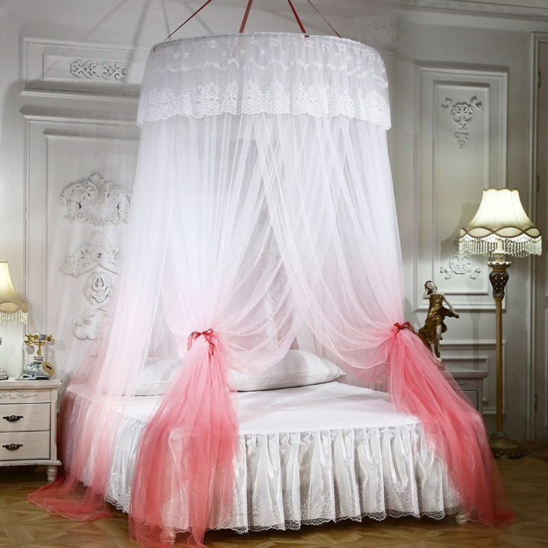 "White 47"" Round Two-Tone Hanging Bed Canopy"