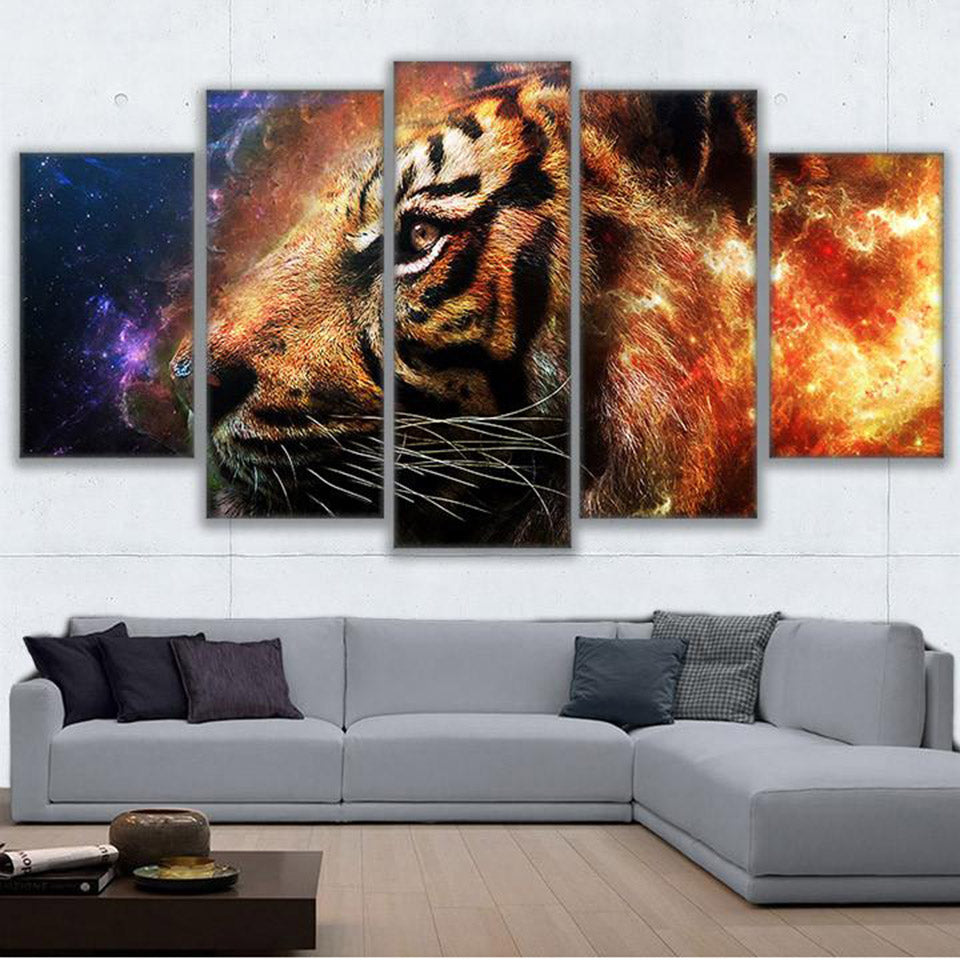 5-Piece Fiery Cosmic Space Tiger Canvas Wall Art