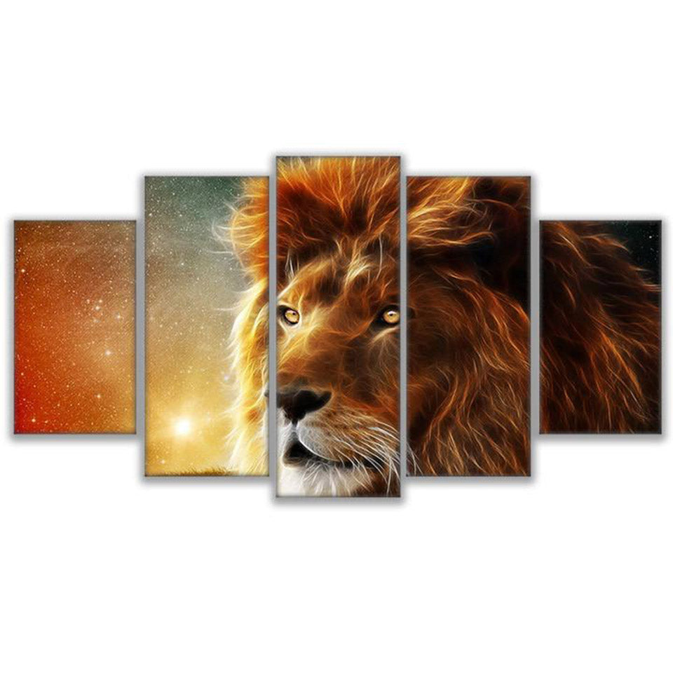 5-Piece Mystical Stargazing Space Lion Canvas Wall Art