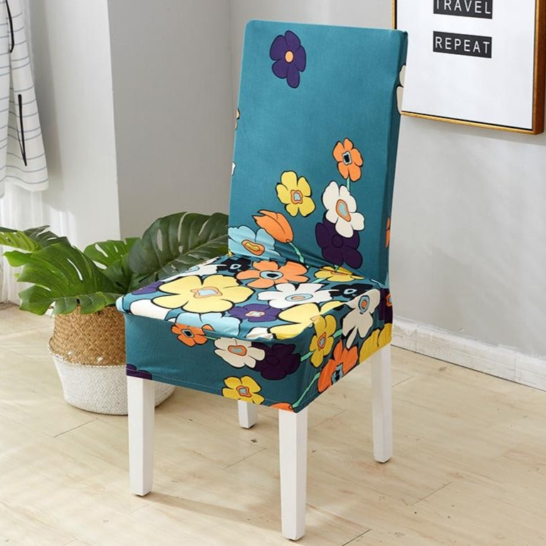 Colorful Hippie Flower Pattern Dining Chair Cover