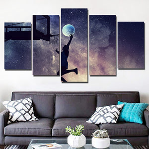 5-Piece Basketball Galaxy Moon Dunk Canvas Wall Art