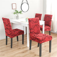 Vintage Textured Floral Jacquard Dining Chair Cover
