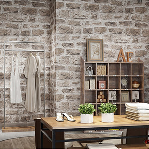 Vintage 3D Embossed Vinyl Stone Brick Wallpaper